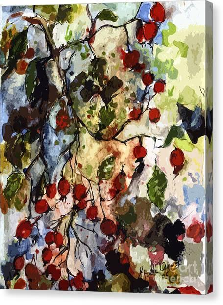 Modern Expressive Rosehips Botanical Art Canvas Print