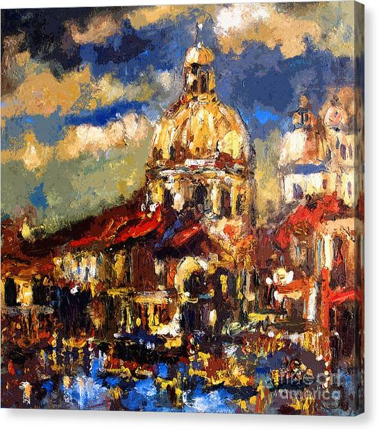Modern Impressionist Venice Sparkling At Sunset  Canvas Print