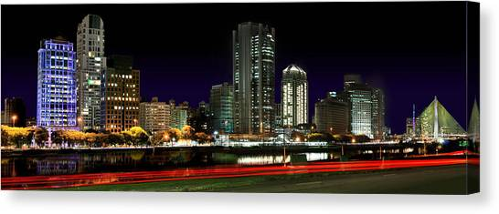 Modern Sao Paulo Skyline Near Brooklin District And Stayed Bridge Canvas Print