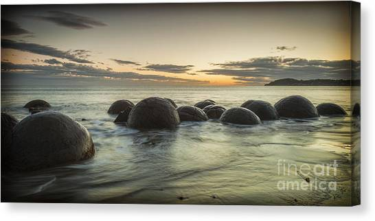 Moeraki Boulders New Zealand At Sunrise Canvas Print