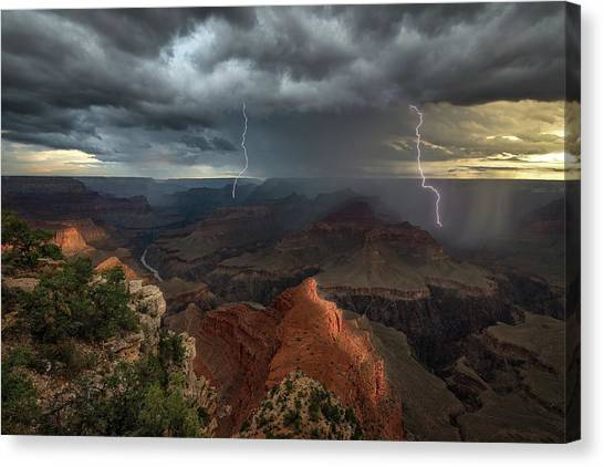 Energy Canvas Print - Mohave Point Thunderstorm by John W Dodson