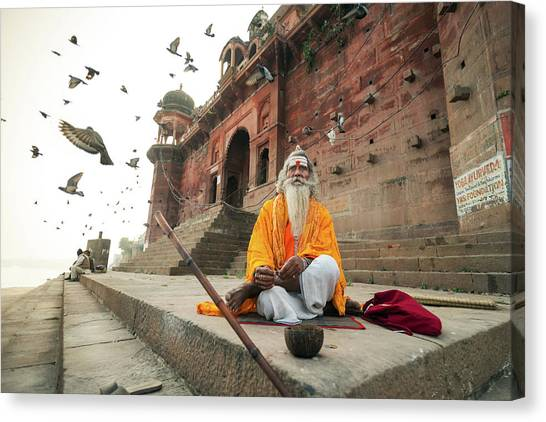 Monks Canvas Print - Moksha by Rakesh J.v