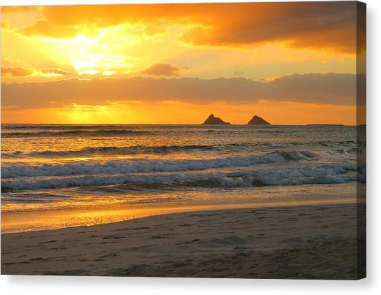 Mokulua Sunrise Canvas Print by Saya Studios