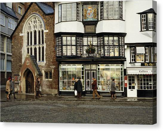 Chape Canvas Print - Mols Coffee House From 1596 Cathedral Close Exeter Uk 1980s by David Davies