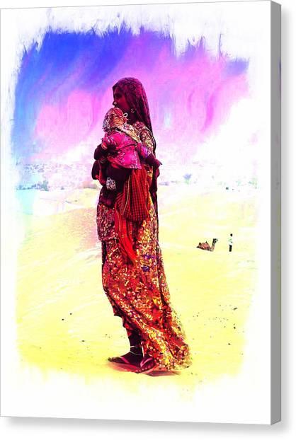 Thar Desert Canvas Print - Mom And Child Desert India by Sue Jacobi