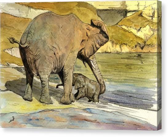 Mom Canvas Print - Mom And Cub Elephants Having A Bath by Juan  Bosco