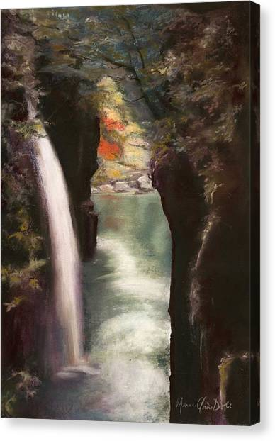 Moment Of Eternity - Takachiho Falls Canvas Print by Marie-Claire Dole