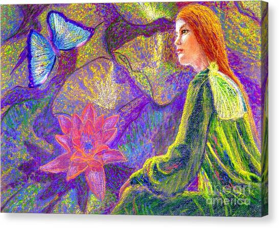 Spiritual Portrait Of Woman Canvas Print -  Meditation, Moment Of Oneness by Jane Small