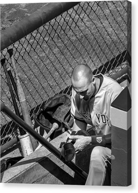 Derek Jeter Canvas Print - Moment Of Reflection by Tom Gort