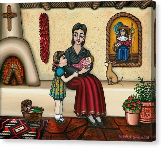 New Baby Canvas Print - Momma Do You Love Me? by Victoria De Almeida