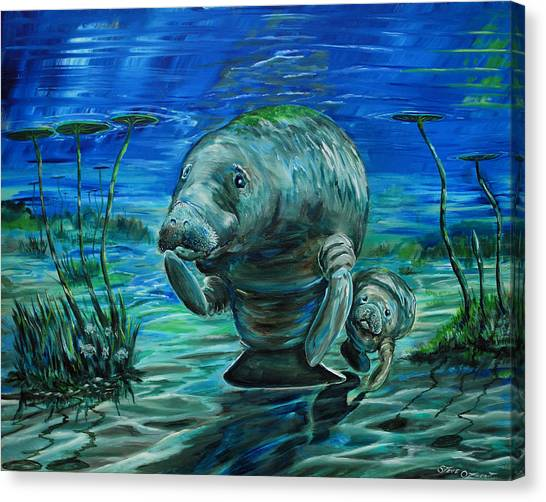 Momma Manatee Canvas Print