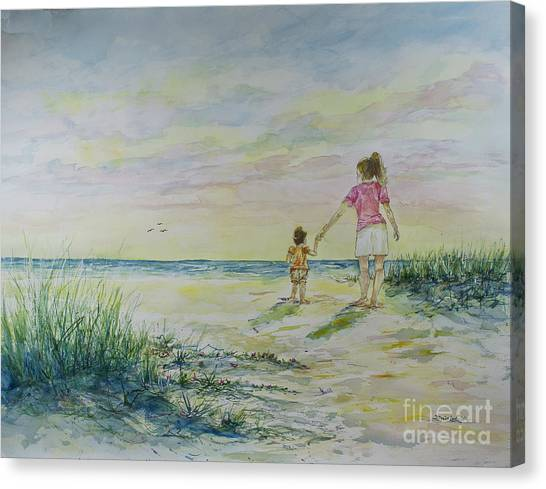 Mommy And Me At The Beach Canvas Print