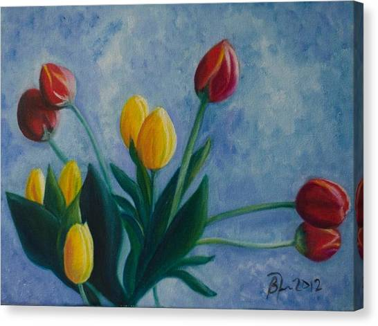 Mom's Tulips Canvas Print by Beatriz Topete