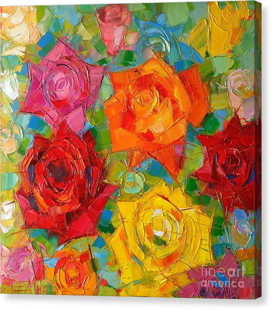 Red Roses Canvas Print - Mon Amour La Rose by Mona Edulesco
