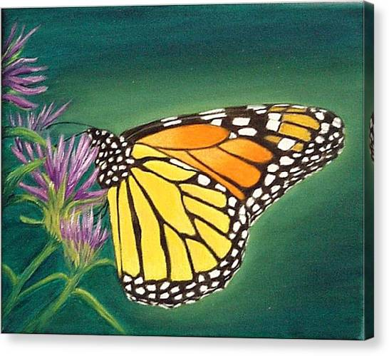 Monarch And Liatris Canvas Print