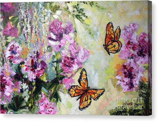 Monarch Butterflies And Peonies Canvas Print