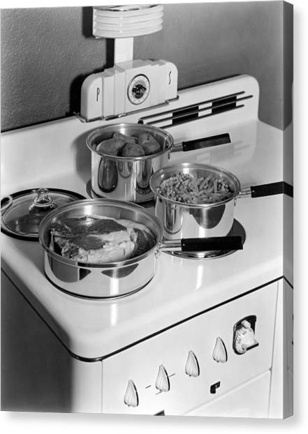 Beavers Canvas Print - Monarch Stove Top With Dinner by Underwood Archives