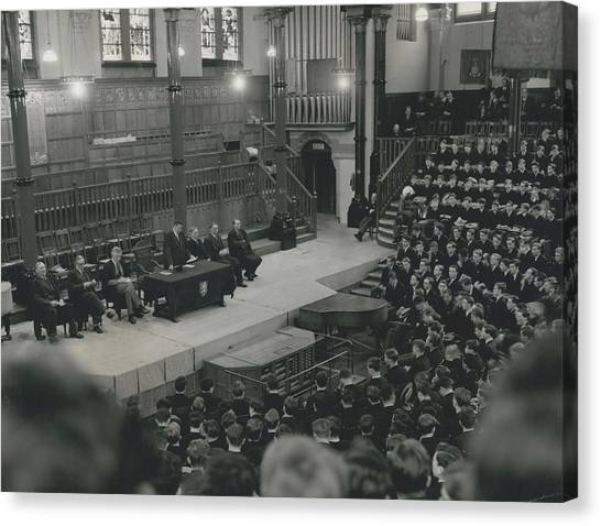 Monday Assembly In The Speech Room At Harrow School Canvas Print by Retro Images Archive