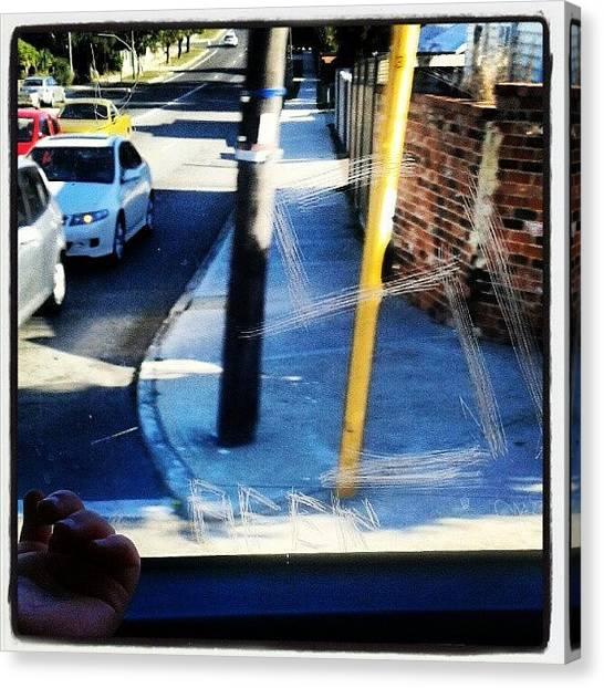 Triangles Canvas Print - #mondays #busrides #windows #blue by Ragenangel -s