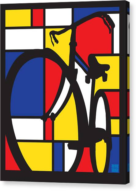 Canvas Print featuring the painting Mondrian Bike by Sassan Filsoof