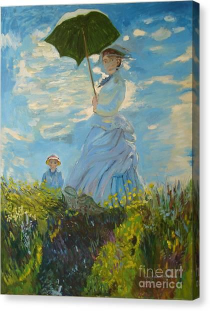 Monet-lady With A Parasol-joseph Hawkins Canvas Print