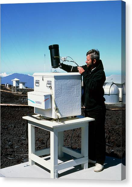 Mauna Loa Canvas Print - Monitor That Detects Ultraviolet Light In Sunlight by Simon Fraser/mauna Loa Observatory/science Photo Library