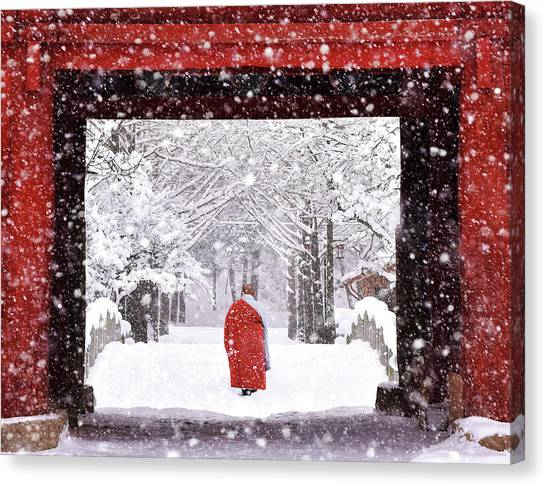 Monks Canvas Print - Monk In Snowy Day by Bongok Namkoong