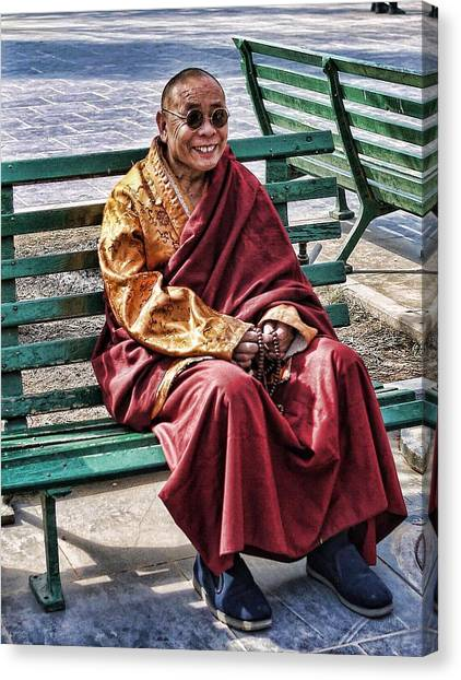 Monk In The Park Canvas Print by Barb Hauxwell