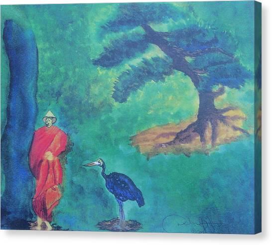 Monk With Bonzai Tree Canvas Print by Debbie Nester