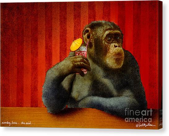 Apes Canvas Print - Monkey Bars...she Said... by Will Bullas