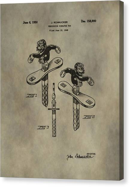 Toy Shop Canvas Print - Monkey Toy Patent by Dan Sproul