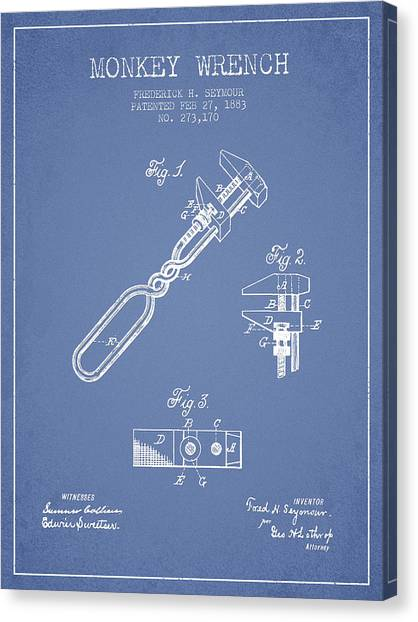 Wrenches Canvas Print - Monkey Wrench Patent Drawing From 1883 - Light Blue by Aged Pixel
