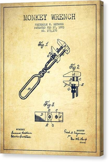 Wrenches Canvas Print - Monkey Wrench Patent Drawing From 1883 - Vintage by Aged Pixel