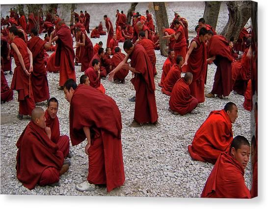 Monks Canvas Print - Monks Debating by Yvette Depaepe