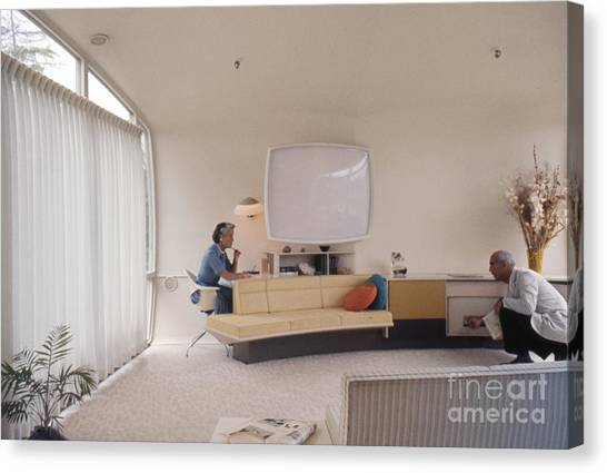 Futurism Canvas Print - Monsanto House Of The Future At Disneyland 1961 Interior by The Harrington Collection
