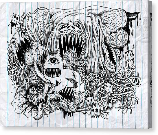 Decoration Canvas Print - Monster Drawing.hand Drawn Monster With by 9george