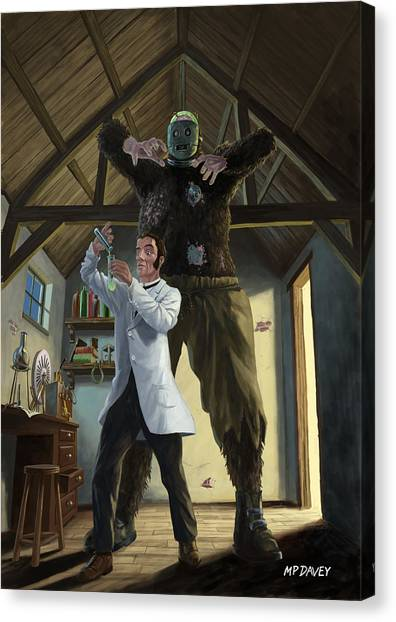 Monster In Victorian Science Laboratory Canvas Print