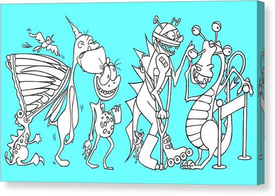 Monster Queue Blue Canvas Print