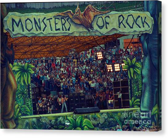 Ac Dc Canvas Print - Monsters Of Rock Stage While A C D C Started Their Set - July 1979 by Daniel Larsen