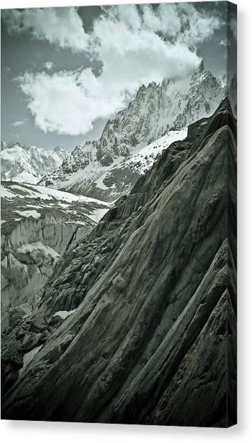 Ice Climbing Canvas Print - Mont Blanc Glacier by Frank Tschakert