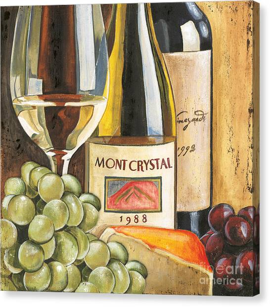 White Wine Canvas Print - Mont Crystal 1988 by Debbie DeWitt