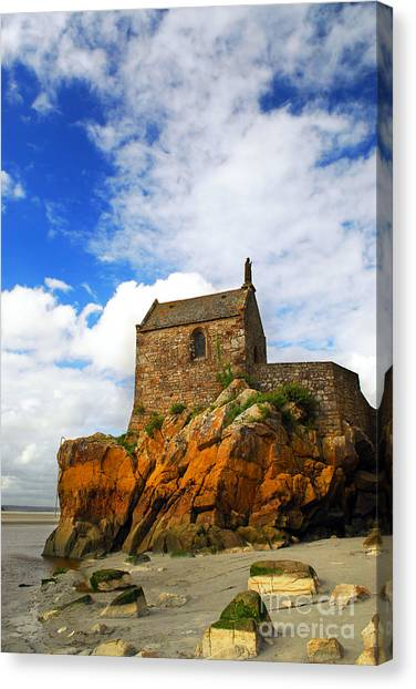 Fortification Canvas Print - Mont Saint Michel Abbey Fragment by Elena Elisseeva