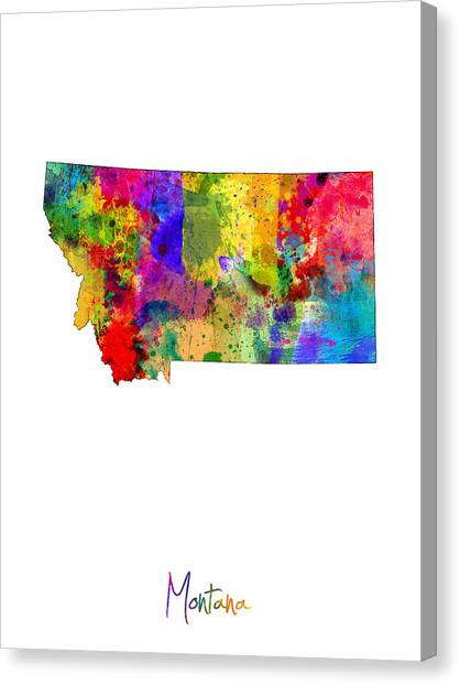 Montana Canvas Print - Montana Map by Michael Tompsett