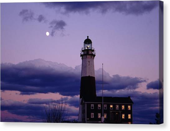 Montauk Lighthouse With Moon Canvas Print