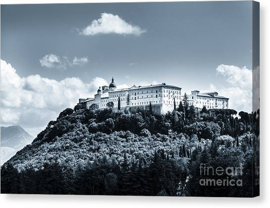Monte Cassino  Abbey On Top Of The Mountain Canvas Print