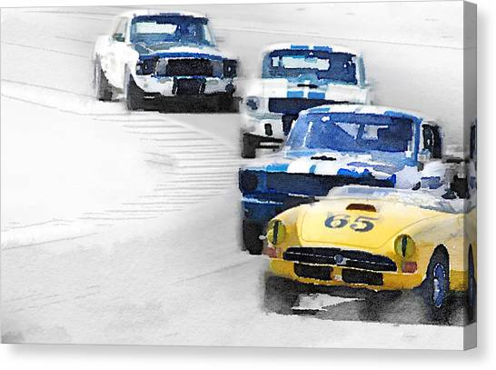 Classic Car Canvas Print - Monterey Racing Watercolor by Naxart Studio
