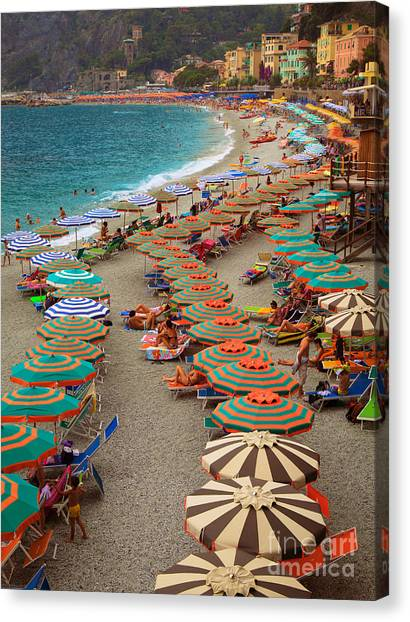 Flag Canvas Print - Monterosso Beach by Inge Johnsson