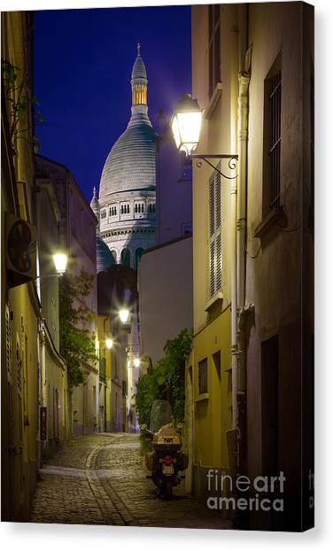 Europa Canvas Print - Montmartre Street And Sacre Coeur by Inge Johnsson