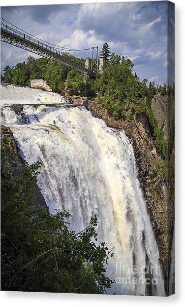 Quebec Canvas Print - Montmorency Falls Park Quebec City Canada by Edward Fielding