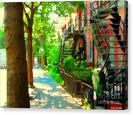 Montreal Art Colorful Winding Staircase Scenes Tree Lined Streets Of Verdun Art By Carole Spandau Canvas Print